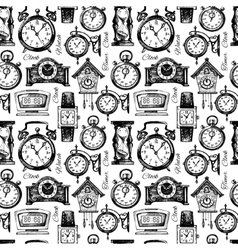 Hand drawn clocks and watches seamless pattern vector image vector image
