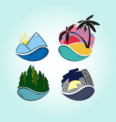hand drawn travel icons mountains tropics vector image