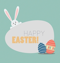 Happy easter with easter eggs and bunny vector image vector image