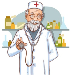 Old doctor with stethoscope eps10 vector image vector image