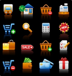 shopping black background vector image vector image