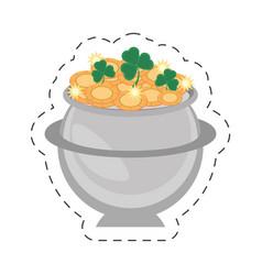 cartoon steel cauldron gold coin st patricks day vector image vector image