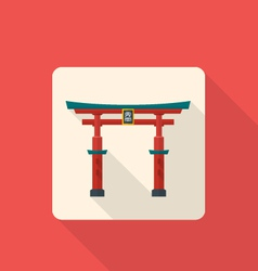 flat style japan gate torii icon with shadow vector image vector image