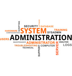 word cloud - system administration vector image vector image