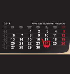black friday shopping trolley reminder 24 vector image