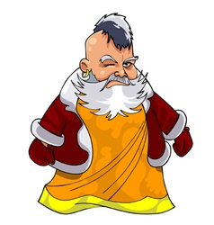 cartoon asian grandfather in Santa Claus clothes vector image