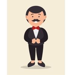 cartoon groom standing with wedding suit design vector image