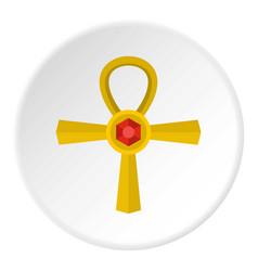 golden ankh symbol icon circle vector image vector image