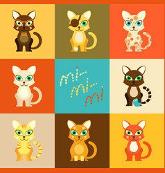 set of eight icons with cartoon cats vector image