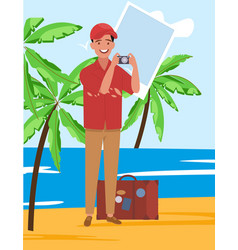 a male tourist with camera on sightseeing vector image