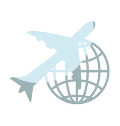 Airplane and global sphere icon vector