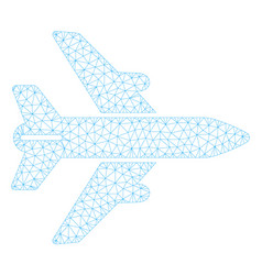airplane polygonal frame mesh vector image