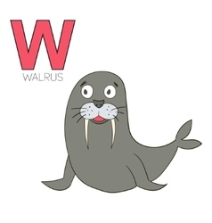 Alphabet letter W walrus children vector image