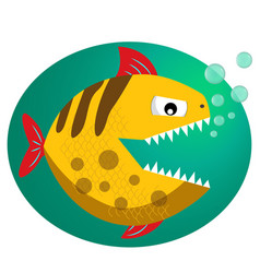 Anger piranha with sharp teeth cartoon vector