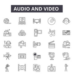 audio editing line icons signs set vector image