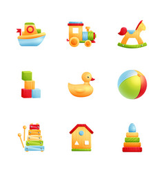 Baby first toys realistic icon set vector