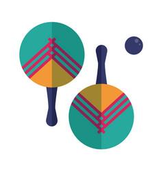 beach tennis rackets and ball set vector image