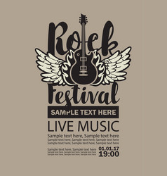 Billboard for rock festival live music vector