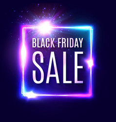 black friday text on dark blue neon background vector image