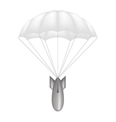 Bomb at white parachute vector