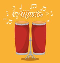 bongos musical instrument label vector image