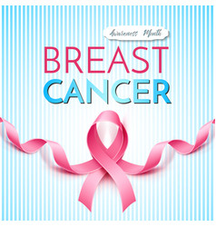 breast cancer awareness poster pink ribbon vector image