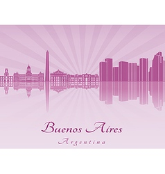 Buenos Aires skyline in purple radiant orchid vector image