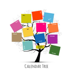 calendar tree 2019 design vector image