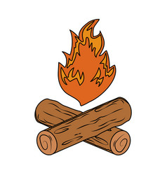 campfire camping isolated icon vector image