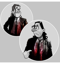 cartoon man in a suit covered with blood vector image