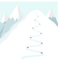 Cartoon ski track on snow mountain skiing trace w vector