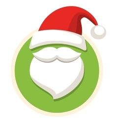 Circle Christmas Label Icon Flat with Santa Hat vector