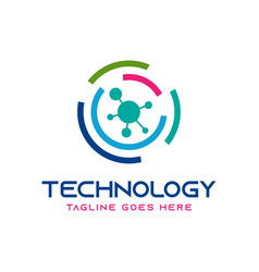 circle technology logo design vector image