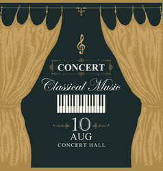 Classic music poster with piano keys and curtains vector