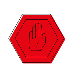 Color warning metal notices with stop sign vector