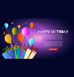 Colorful bunch happy birthday balloons flying vector