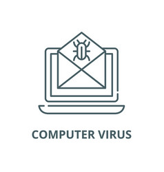 computer virus line icon computer virus vector image