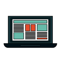 Computer with document on screen vector