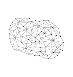 Cook islands map of polygonal mosaic lines network vector