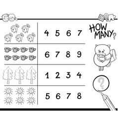 Counting activity coloring page vector
