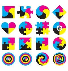 Creative CMYK logo or icon design collection over vector