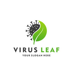 Creative design logo leaf and virus icon vector
