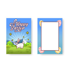 cute greetings card with a bunny in a face mask vector image