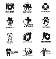 Dentistry icons dental clinic isolated signs vector