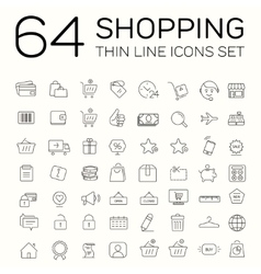 E-commerce and shopping icons Thin line design vector