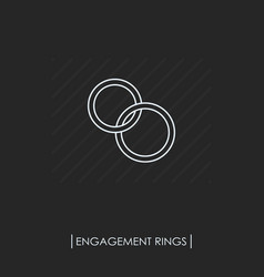 engagement rings outline icon isolated vector image