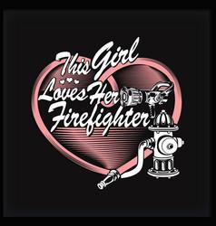 firefighter heart vector image