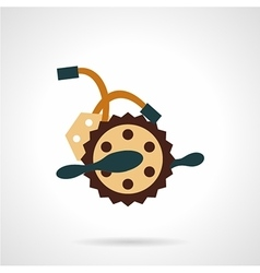 Flat color bike crankset icon vector image