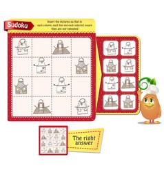 Game iq sudoku kitchen aprons vector