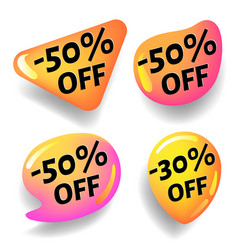 glossy discount stickers for design advertising vector image